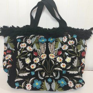 Embroidered Tote Bag Black Jute Fabric NWOT